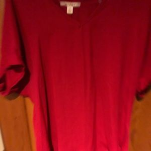 Blouse, red, short sleeve, sz S